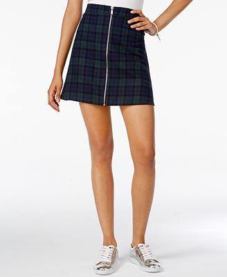 Freestyle Juniors' Plaid Zip-Front Mini Skirt