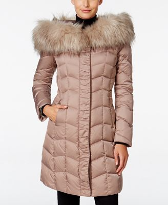 T Tahari Faux-Fur-Trim Hooded Puffer Coat - Coats - Women - Macy's