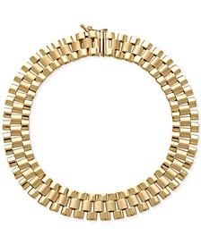 Men's Wide Link Bracelet in 14k Gold