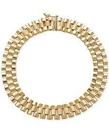 Men's Wide Link Bracelet in 14k Gold
