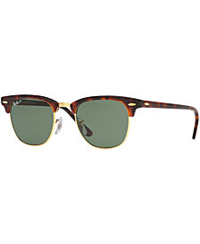 Ray-Ban Polarized Clubmaster Sunglasses, RB3016 49