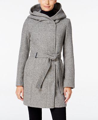 Calvin Klein Petite Asymmetrical Hooded Walker Coat, Only at ...
