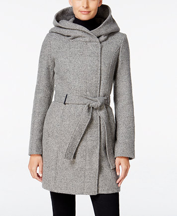 Calvin Klein Petite Asymmetrical Hooded Walker Coat, Only at ...