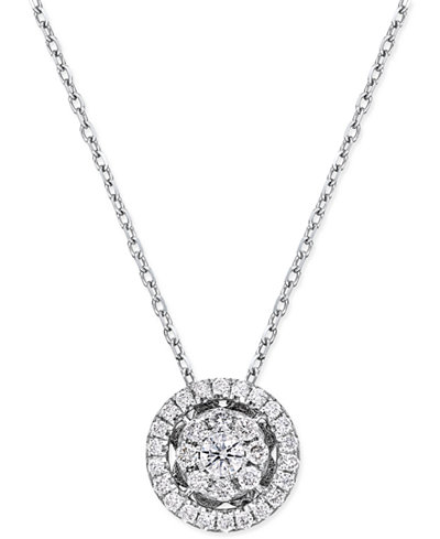 Diamond Cluster Halo Pendant Necklace (1/4 ct. t.w.) in 14k White Gold