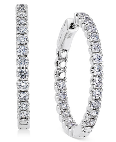 Diamond In-and-Out Hoop Earrings (3 ct. t.w.) in 14k White Gold