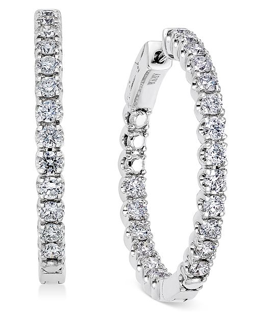 Macy's Diamond In-and-Out Hoop Earrings (3 ct. t.w.) in 14k White Gold