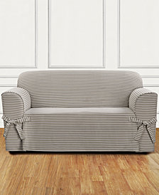 Sure Fit Horizontal Club Stripe One-Piece Straight Skirt with Cord Loveseat Slipcover