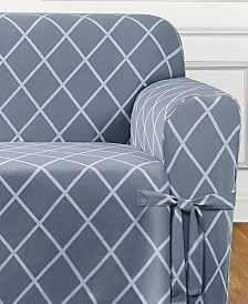 Sure Fit Lattice One-Piece Straight Skirt with Cord Sofa Slipcover