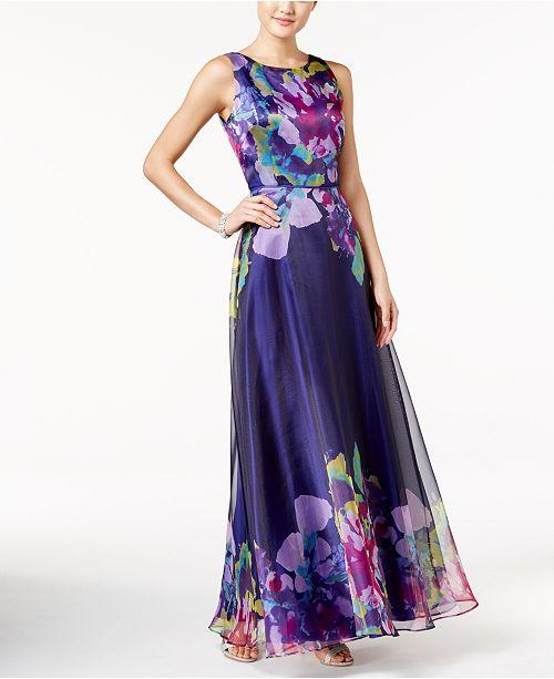 Tahari ASL Floral V-Back Gown
