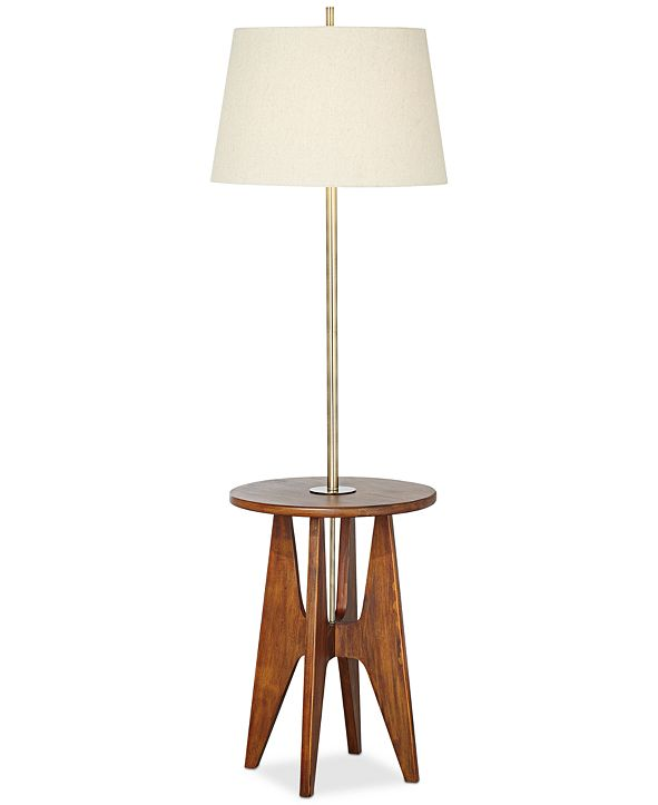 Kathy Ireland Pacific Coast Wood Floor Lamp with Accent Table