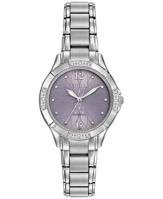 Citizen Women's Eco-Drive Diamond Accent Stainless Steel Bracelet Watch 30mm EM0450-53X