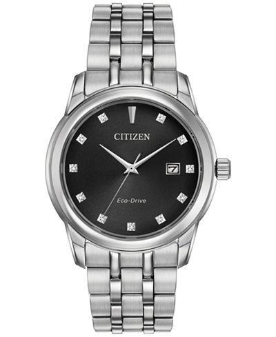 Citizen Men's Eco-Drive Diamond Accent Stainless Steel Bracelet Watch 39mm BM7340-55E