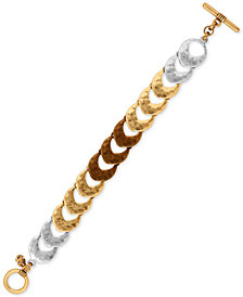 Lucky Brand Tri-Tone Hammered-Look Link Toggle Bracelet