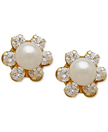 Children's Cultured Freshwater Pearl (3-3/4mm) and Cubic Zirconia Stud Earrings in 14k Gold