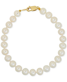 Children S White Cultured Freshwater Pearl 4 1 2mm Bracelet