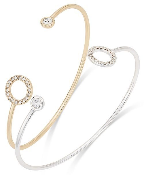 INC International Concepts I.N.C. Two-Tone 2-Pc. Crystal Open Cuff Bracelet Set, Created for Macy's