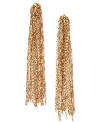 Gold-Tone Tassel Chain Linear Earrings, Created for Macy's