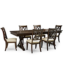 Baker Street Dining Furniture, 7 Pc. Set (Dining Trestle Table U0026 6