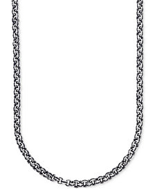 Esquire Men's Jewelry Antique-Look Double Rolo Chain Necklace in Sterling Silver, Created for Macy's