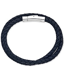 Black Leather Wrap Bracelet in Stainless Steel, Created for Macy's