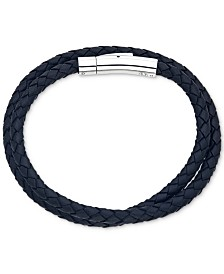 Esquire Men's Jewelry Black Leather Wrap Bracelet in Stainless Steel, Created for Macy's