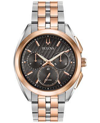 Bulova Men's Chronograph Curv Two-Tone Stainless Steel Bracelet Watch 45mm 98A160