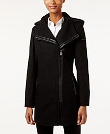 Faux-Leather-Trim Asymmetrical Coat, Created for Macy's