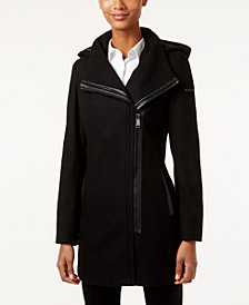 Calvin Klein Hooded Asymmetrical Walker Coat, Created for Macy's