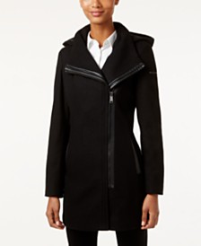 Calvin Klein Faux-Leather-Trim Asymmetrical Coat, Created for Macy's