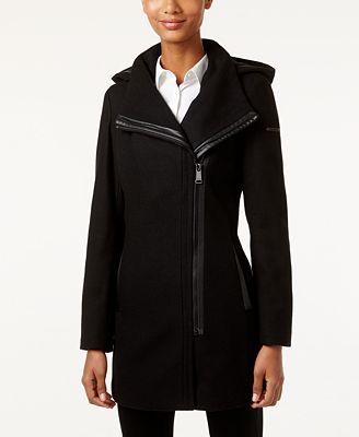 Calvin Klein Hooded Asymmetrical Walker Coat, Created for Macy's
