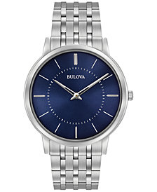 Bulova Men's Dress Stainless Steel Bracelet Watch 40mm 96A188