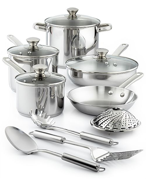Stainless Steel 13-Pc. Cookware Set, Created for Macy\'s