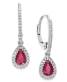 Ruby (3/4 ct. t.w.) and Diamond (1/5 ct. t.w.) Drop Earrings in 14k White Gold