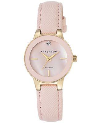 Anne klein women 39 s diamond accent light pink leather strap watch 30mm ak 2538pmlp watches for Anne klein leather strap