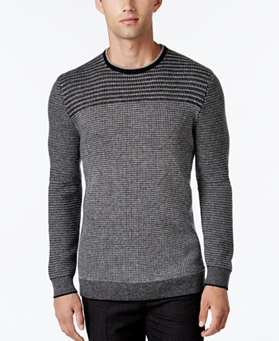 Alfani Collection Men's Stripe Rack-Stitch Sweater, Regular Fit, Created for Macy's