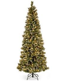7.5' Glittery Bristle Pine Slim Hinged Christmas Tree with 600 White LED Lights