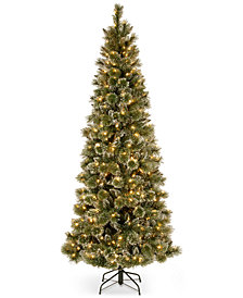 National Tree Company 7.5' Glittery Bristle Pine Slim Hinged Christmas Tree with 600 White LED Lights