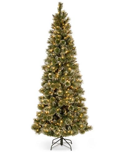 National Tree Company 7.5' Glittery Bristle Pine Slim Hinged Christmas Tree with 600 White LED Lights