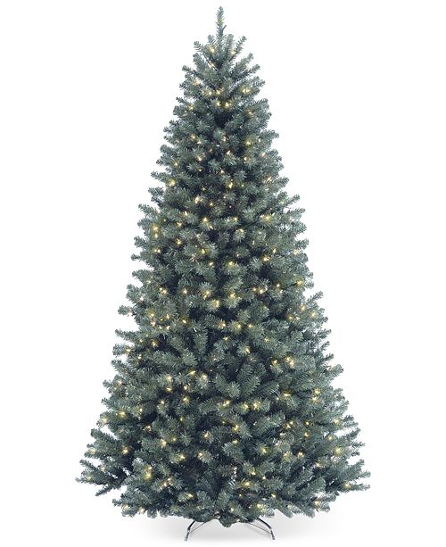 National Tree Company 7.5' North Valley Spruce Blue Hinged Christmas Tree with 700 Clear Lights