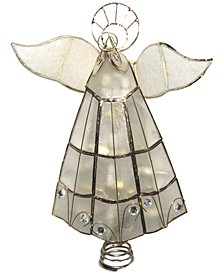 10-Light Capiz Angel Treetop with Trumpet
