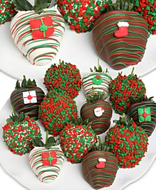 12-Pc. Christmas Belgian Chocolate-Covered Strawberries Gift Box