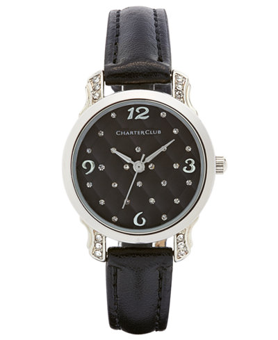 Charter Club Women's Black Leather Strap Watch 28mm, Only at Macy's