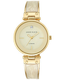 Anne Klein Women's Diamond Accent Gold-Tone and Ivory Bracelet Watch 34mm AK-2512IVGB
