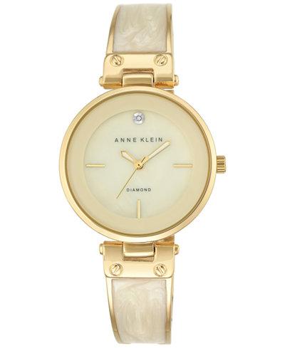 Anne Klein Women's Diamond Accent Gold-Tone and Ivory Bracelet Watch 34mm AK-2512IVGB