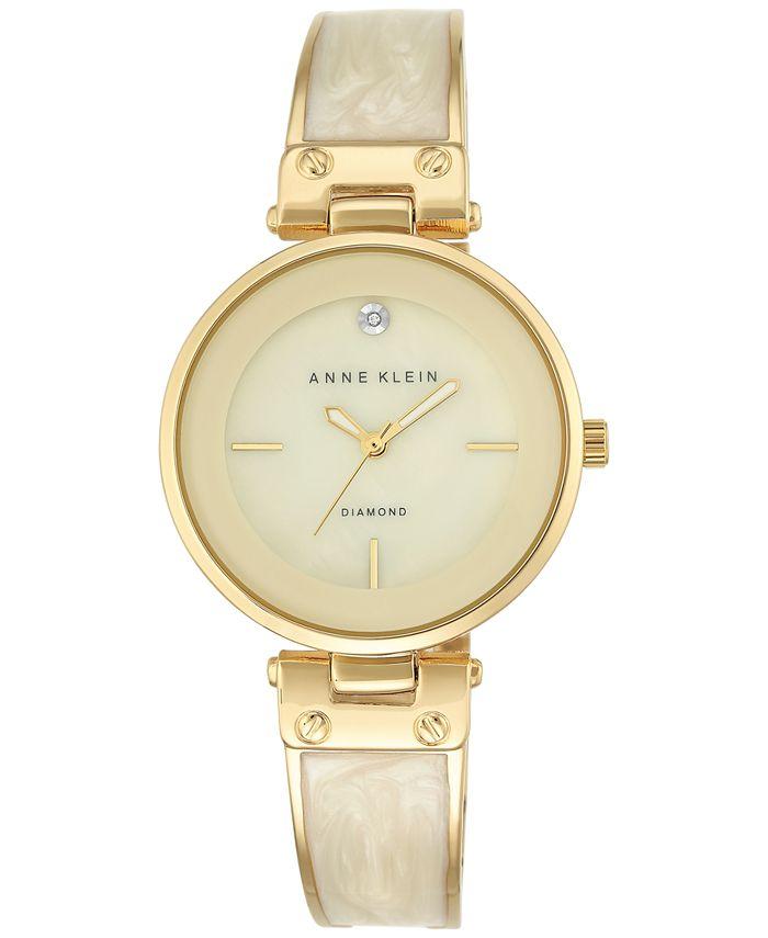 Anne Klein - Women's Diamond Accent Gold-Tone and Ivory Bracelet Watch 34mm AK-2512IVGB