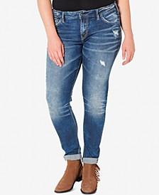 Plus Size Indigo Wash Ripped Girlfriend Jeans