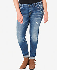Silver Jeans Plus Size Indigo Wash Ripped Girlfriend Jeans