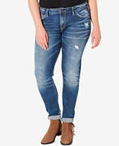 e93914cce86 Silver Jeans Co. Plus Size Indigo Wash Ripped Girlfriend Jeans