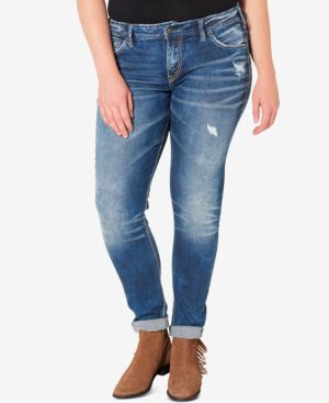 Silver Jeans Plus Size Indigo Wash Ripped Girlfriend Jeans 2919350
