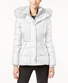 Faux-Fur-Trim Hooded Quilted Puffer Coat